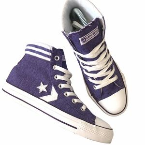 Converse star player sock purple high tops